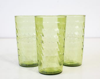 Green Acres Glass Tumblers, Set of Four, Vintage Glassware / Drinkware