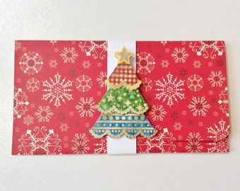 Christmas Money/Gift Card, Red, White, Snowflakes, Christmas Tree, Glittery, Handmade, Wreath, 3 tier Tree, Star, Blue, Green, Ornaments