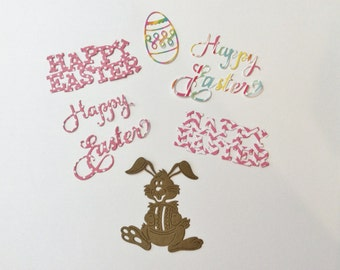 Easter Die Cuts, Happy Easter, Bunny, Easter Egg, Can Do Any Color, Handmade, Sizzix, Cardstock, Pink, Brown, Polka Dots, Chevron