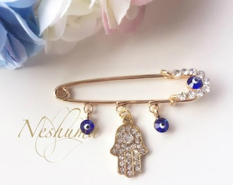 Baby Keepsake Evil Eye Pin Hamsa Jewelry Baby Pin Hijab Pin Stroller Pin Jewish Catholic Muslim Newborn Baby Shower Gift
