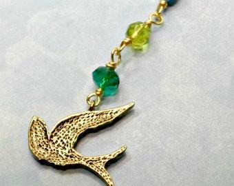 Handmade key chain purse pull doodad blue gree crystals bird charm Pat2
