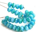 3x5mm Mixed Blue Green czech glass beads, Sea Ocean color rondels, blue rondelle gemstone cut spacers - 40Pc - 0309