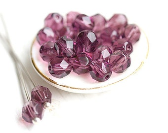 Amethyst Purple beads, czech glass, Fire polished round beads, faceted, spacers - 6mm - 30Pc - 0954