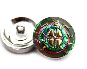 18mm Golden Bug Czech Glass Button, Iridescent Green Pink, Handmade Button bead, size 8, 1pc - 1181