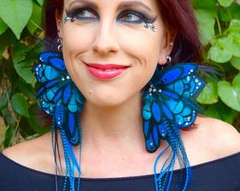 BLUE FAIRY Wing Feather Earrings