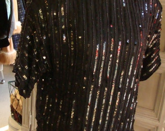 1980's does 1920's black SILK SEQUIN BLOUSE M