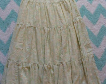 yellow and green TIERED MAXI SKIRT vintage 1970's prairie boho homesteader 30 waist M