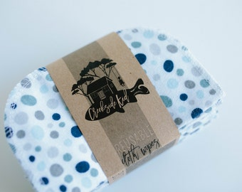 Cloth Diaper Wipes - Family Cloth - Solid Camel  Baby Wipes Cloth Wipes Set of 20 Baby Wipes - Reusable Flannel Wipes (Blue Grey Dots)