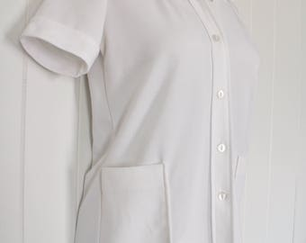 Vintage White Polyester Uniform Top - Womens Hotel Maid Shirt - Pocketed Uniform  - Button Up - Cuffed Sleeves - Shirley