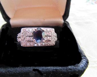15% OFF SALE 14k White Gold Sapphire Diamond Cocktail Ring Sz 8 1/2 Art Deco Style 1 Ct Diamonds Estate Fine Jewelry Engagement Wedding