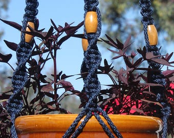 CIRQUE - Dark Blue Handmade Macrame Plant Hanger Plant Holder with Wood Beads - 6mm Braided Poly Cord in NAVY Blue