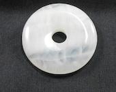 White Agate Stone Donut Pendant, Natural Stone, 40mm, Flat Round Pendant, Semi Clear, Matrix Lines, Crafting Stone, Jewelry Making