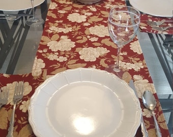 Red Floral Table Runner, Cream Floral Runner, Tan Floral Runner