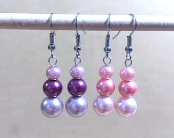 Graduated Tri-color Pearl Dangle Earrings, Simple Pearl Wedding Jewelry Pink Purple Glass Earrings, Handmade Beaded Jewelry Colored Pearls