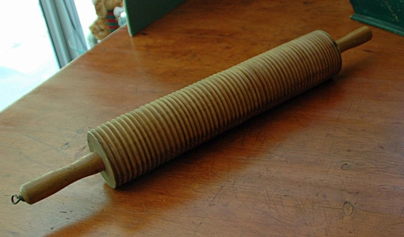 Antique Huge n Rare LEFSE LUMPA NORWAY Primitive Grooved Roller Rolling Pin Ca 1890-1910 Exc Condition
