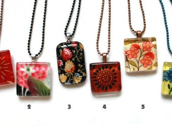 Cute Fabric Scrap Glass Tile Pendant, Glass Tile Necklace, Flower Necklace