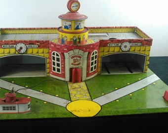 Vintage Toy Airport Superior Toys Tin Lithograph Play Set, 1950s