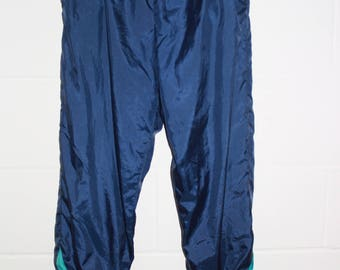 Vintage Navy Contrast Tracksuit trousers - Shell suit - Pastel - Jogging Bottoms trackies-blue tie waist-zip -30-34 w