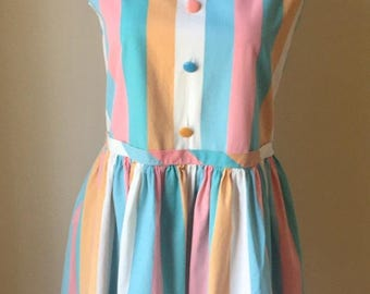 Vintage 1960s Girls' Juniors' Arlene Airess Stripe Sleeveless Dress