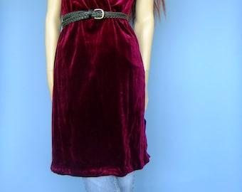 burgundy velour dress, 70s dress, elastic waist dress