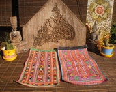 RESERVED FOR AKOSUA  Vintage Embroidered Textile Set Of 2, Tribal Textile, Vintage Cross Stitch, Cross Stitch Vintage Textile