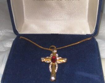 Jackie Kennedy Jewelry Ruby Cross Necklace Camrose & Kross Blue Box