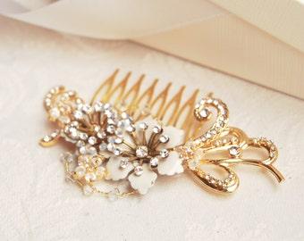 Golden swirl hair comb, flower crystal headpiece, bouquet hair jewelry - style 242