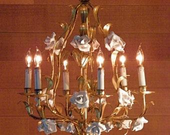 Vintage Chandelier Antique Chandelier Gilt Italian Tole Chandelier Porcelain Roses 6 Lights Fabulous!