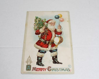 Antique Christmas Postcard Santa Claus with Balloons & Toys