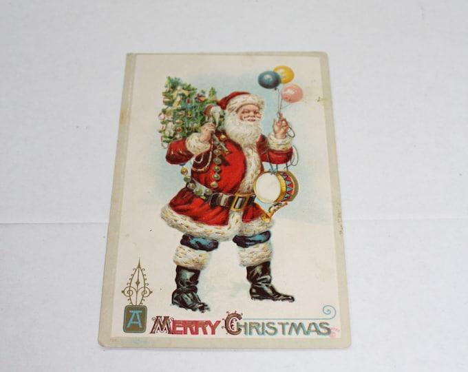 Antique Christmas Postcard Santa Claus with Balloons & Toys