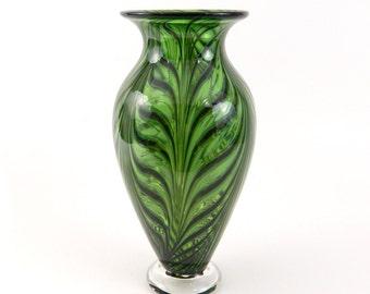 Green Hand Blown Art Glass Vase