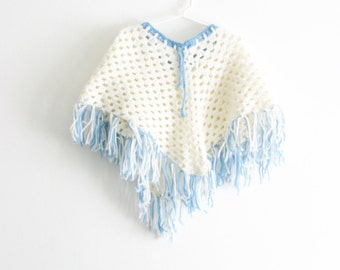 Vintage Knit Girls Poncho Girls White Poncho Blue Poncho Girls Shawl Girls Fringe Shawl Knit Poncho Knit Shawl Size 4 Size 6 Size 8