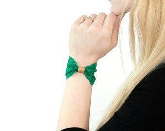 Lace Wrist Cuff Bow Bracelet, Shamrock Green St Patricks Day Festival, Bow Tie, Wristband Gift for Her, Stretch Wrist Tattoo Cover Up Covers