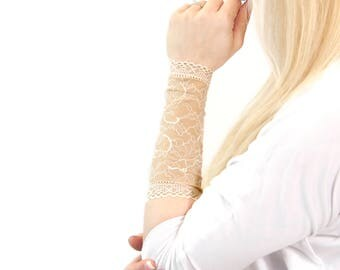 Long Lace Bracelet, Lace Wrist Cuff, Nude Tan Tattoo Cover Up Arm Tattoo Covers Long Lace Cuff Bracelet Arm Band Sleeve Extender, Scar Cover
