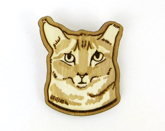 Cat Brooch, Rescue Cat pin, Worried Cat, Birch Wood Laser Cut Pin Back