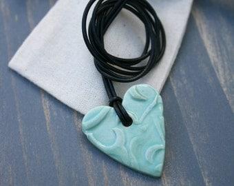 heart pendant, ceramic jewelry, heart necklace, turquoise heart, pottery pendant, love heart, gift idea, porcelain pendant, boho jewelry,