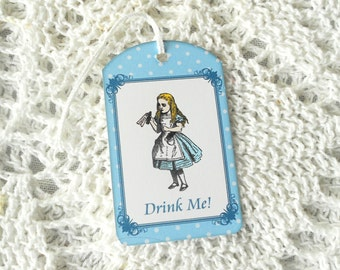 Alice in Wonderland Drink Me Tags Gift Tags Party Favors Tea Party Bridal Showers Birthdays