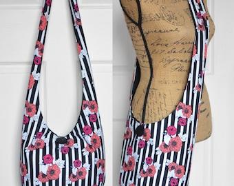 Hobo Bag Boho Bag Crossbody Bag Hippie Purse Sling Bag Hobo Purse Bohemian Purse Striped Hobo Bag Floral Fabric Purse Slouch Bag Handmade