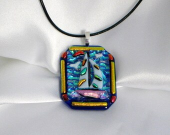 SAILING LADY ROSE Sailboat fused glass jewelry pendant necklace sailboat fused glass pink ,colorful sails, blue ocean . Sea gulls fly above.