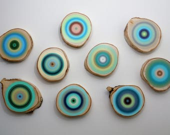 Painted Tree Rings, Ready To Ship, Wall Art, Abstract Art, Wood Slice, Original Painting, Modern Decor, 2017 Trends, Beach house decor