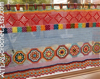Boho curtain/valance by ATERGcrochet (ready for direct shipping)