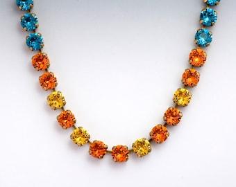 Tangerine Orange Rhinestone Necklace, Teal Rhinestone Jewelry, Orange Crystal Jewelry Hypoallergenic, Austrian Crystal Necklace Tennis, Gae