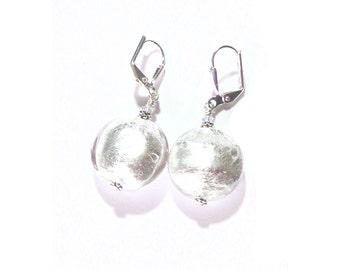Murano Glass Clear Silver Disc Earrings, Venetian Jewelry, Leverback Earrings, Italian Glass Jewellery, Clip on Earrings, Sterling silver