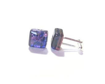 Purple Blue Murano Glass Cuff Links, Tie Accessories, Italian Glass Jewelry For Men, Venetian Glass Cuff Links