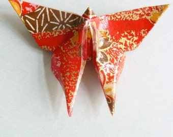 Red, golden and brown Butterfly Origami brooch