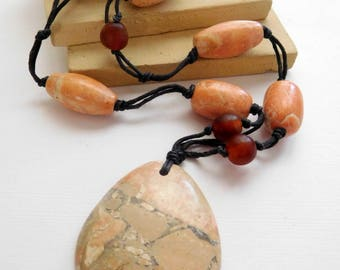 Retro Peach Jasper Gemstone Long Black Cord Boho New Age Necklace H48