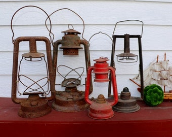 Set of 4 Rare Antique Rusty Lanterns -Display - Primitive - Rusty Metal - Shabby Chic - Wedding Decor - Rustic Lantern - Dietz - CT Ham CO
