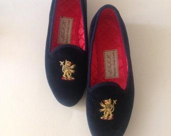Reserved don't buy London Luxury Slippers BERK velvet gold embroidery Hand made