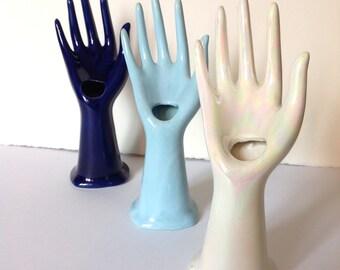 Vintage Porcelain Hands. Jewelry display, 1970s set of 3
