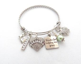 TEACHER Jewelry, Teacher Gift, Teacher appreciation, Gifts for Teachers, Teacher Bracelet, Thank you for helping me grow End of year gift,